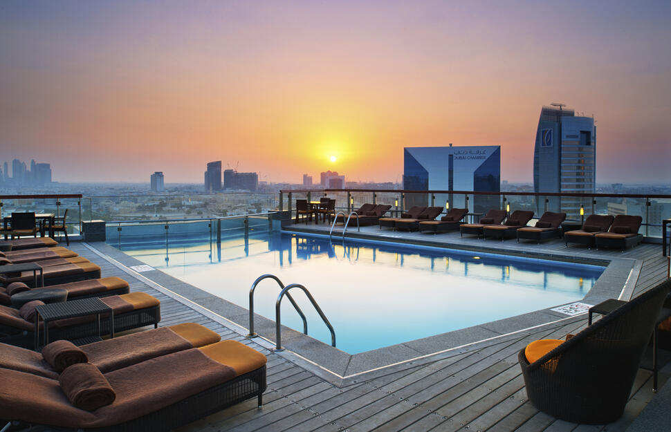Rootop pool at the Hilton Dubai Creek