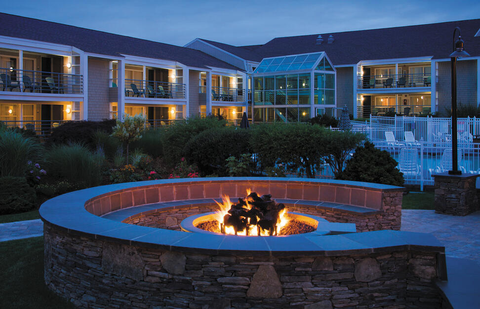 Fire feature in the gardens, Hyannis Harbor Hotel