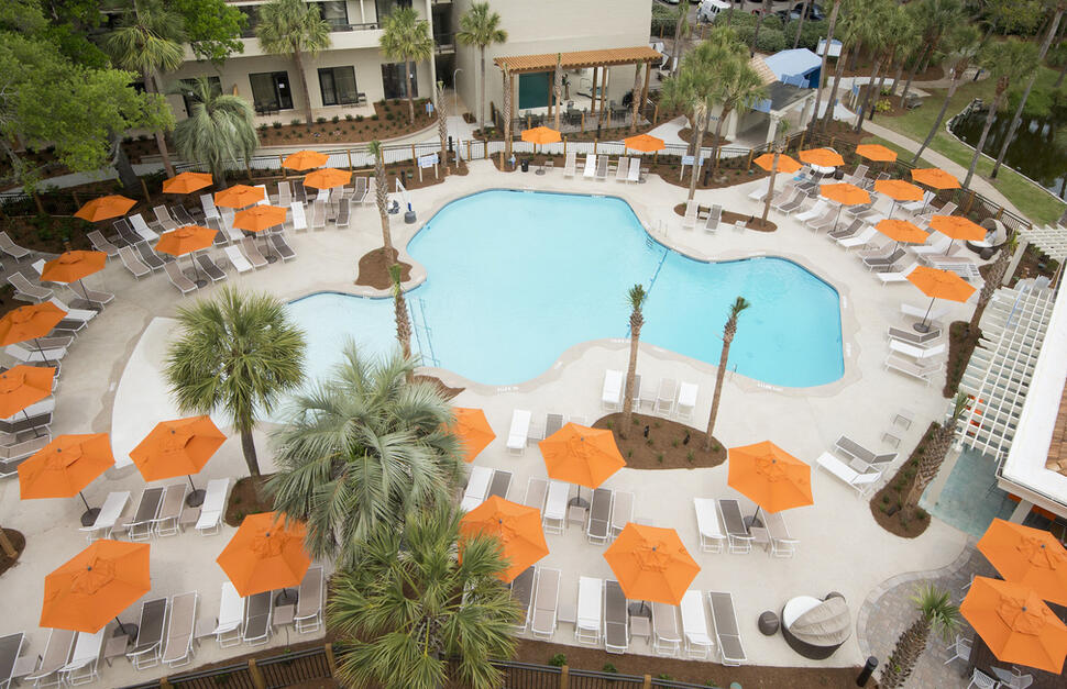pool view, aerial view, sunbathing, swimming, outdoors, outside, Sonesta Hilton Head, USA, south carolina